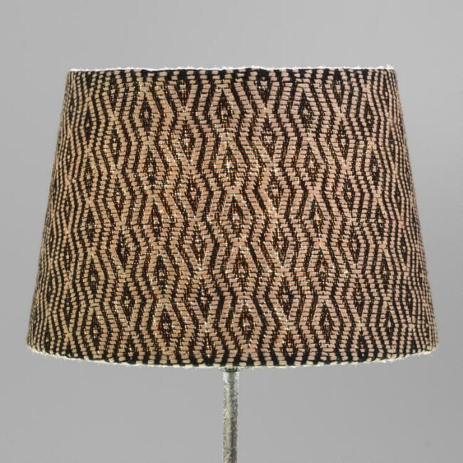 Cost plus world market black and tan diamond woven accent lamp shade lighting shades mountain houses and bedrooms