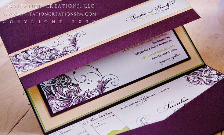 6x9 #pocketfold #wedding #invitation wwwinvitationcreationspm