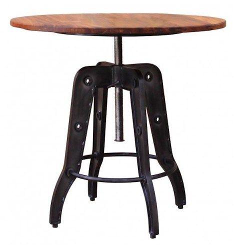 International Furniture Direct Parota Industrial Style Adjustable Height Bistro Table