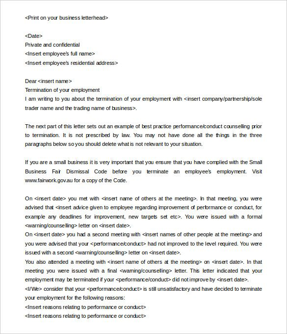 termination letter templates free sample example format download - employment letters
