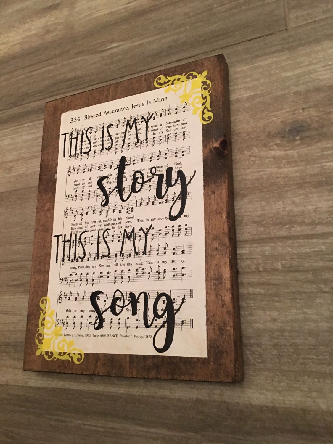 Blessed assurance, this is my story this is my song, hymn board ...