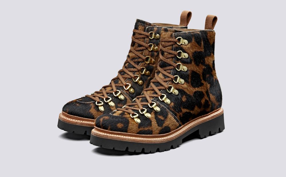 Nanette | Womens Hiker Boots in Leopard