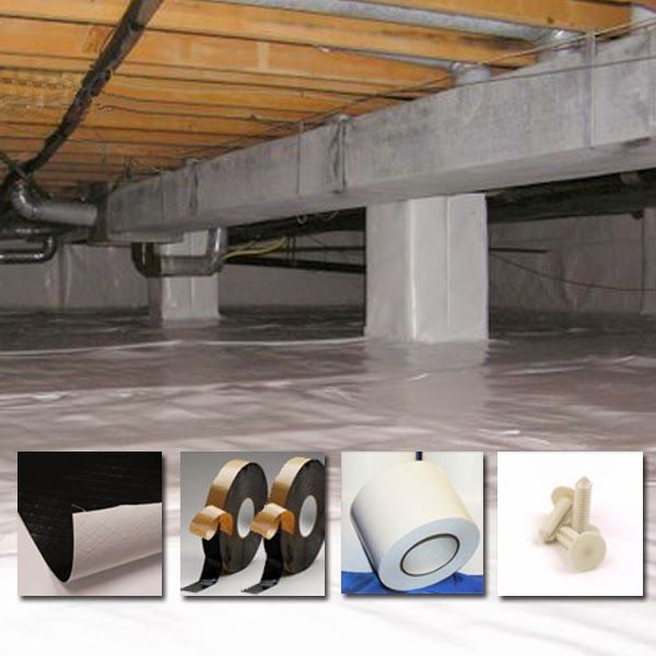 Diy crawlspace encapsulation materials liners butyl tape for Crawl basement