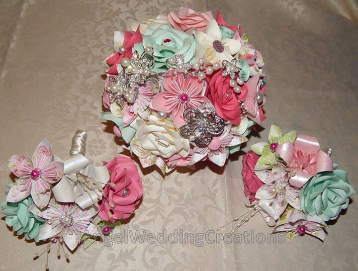 Summery, pastel and pink, brooch and paper flower bouquet, origami ...