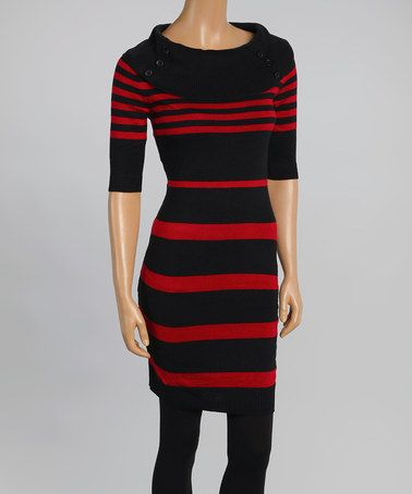 This Black & Red Zinfandel Variegated Stripe Cowl Neck Sweater Dress is perfect! #zulilyfinds