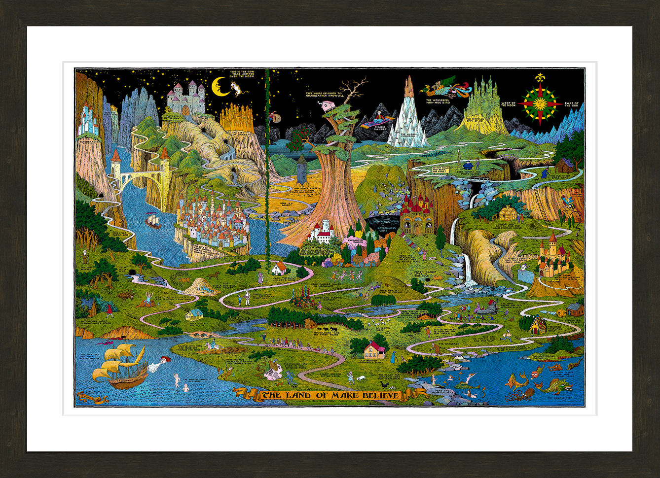 Home Rosen Ducat Imaging The Land Of Make Believe Map Fine Art Prints Art Prints Art Illustration