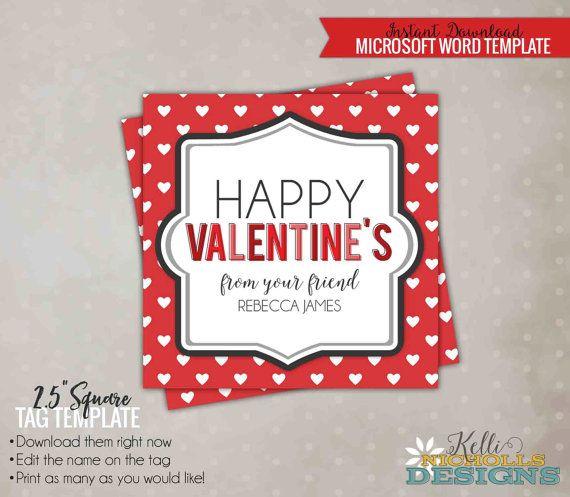 DIY Children Valentine\u0027s Day Friend Tag Template, Red with White