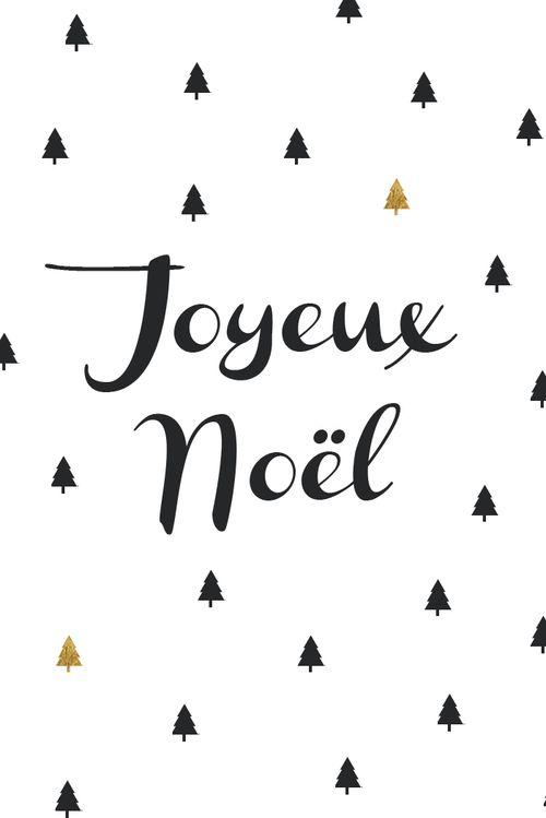 Carte Joyeux Noël Sapin Noir Et Dorés Hello Nobo Noel
