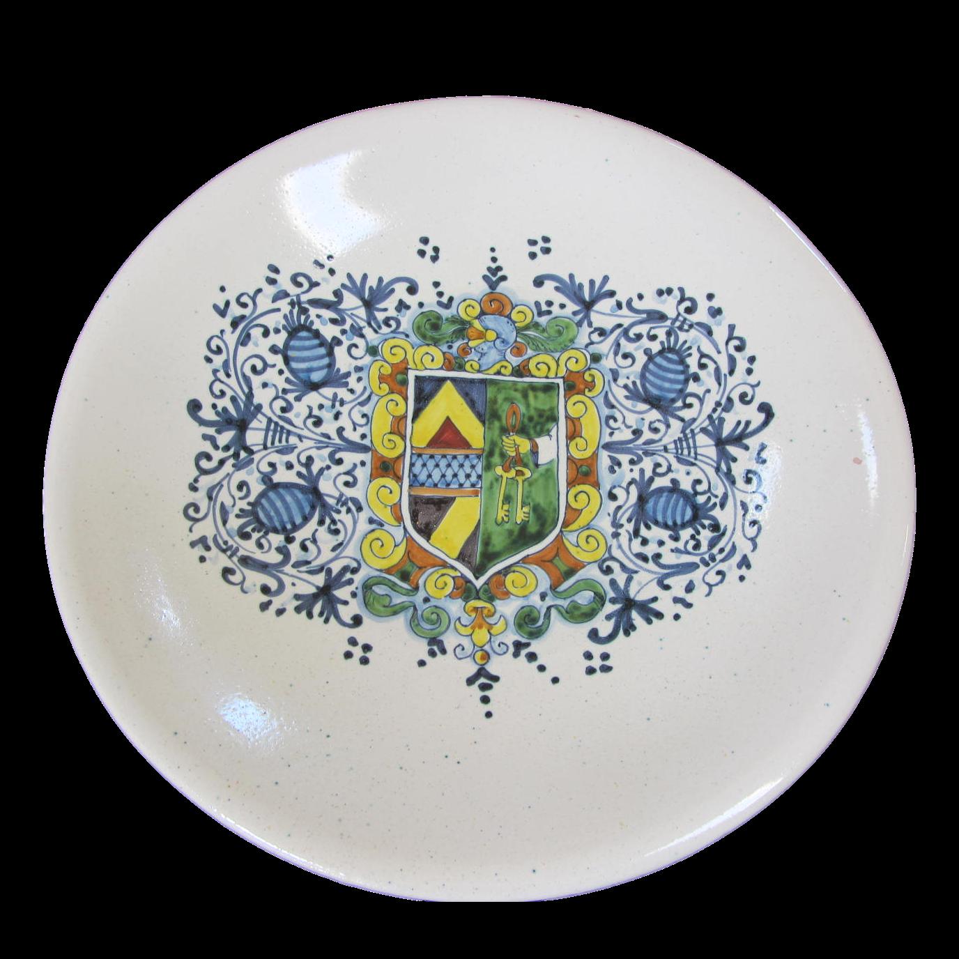 """Large Vintage Italian Faience Bowl -13.75"""""""