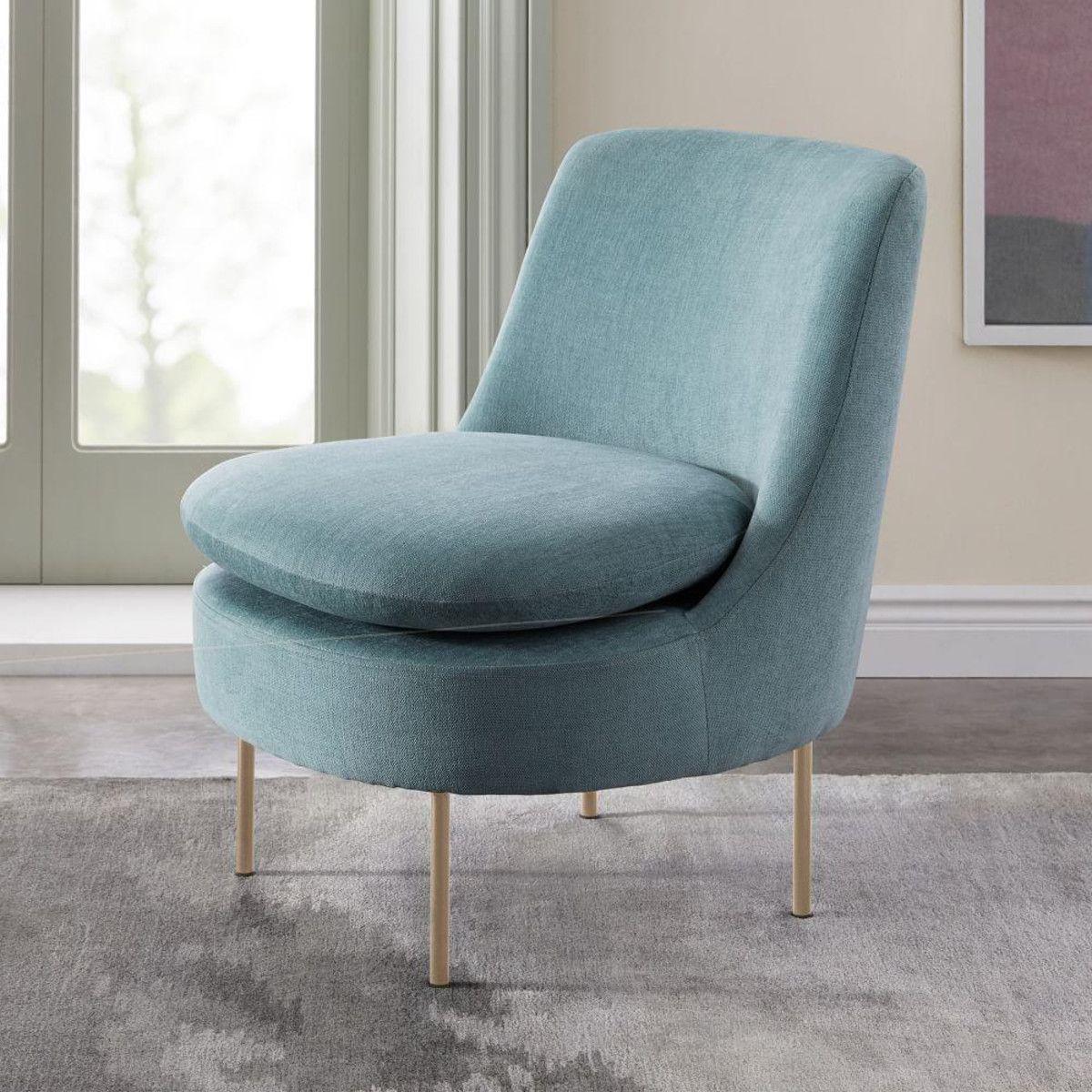Modern Curved Velvet Slipper Chair  west elm AU  Vintage dining