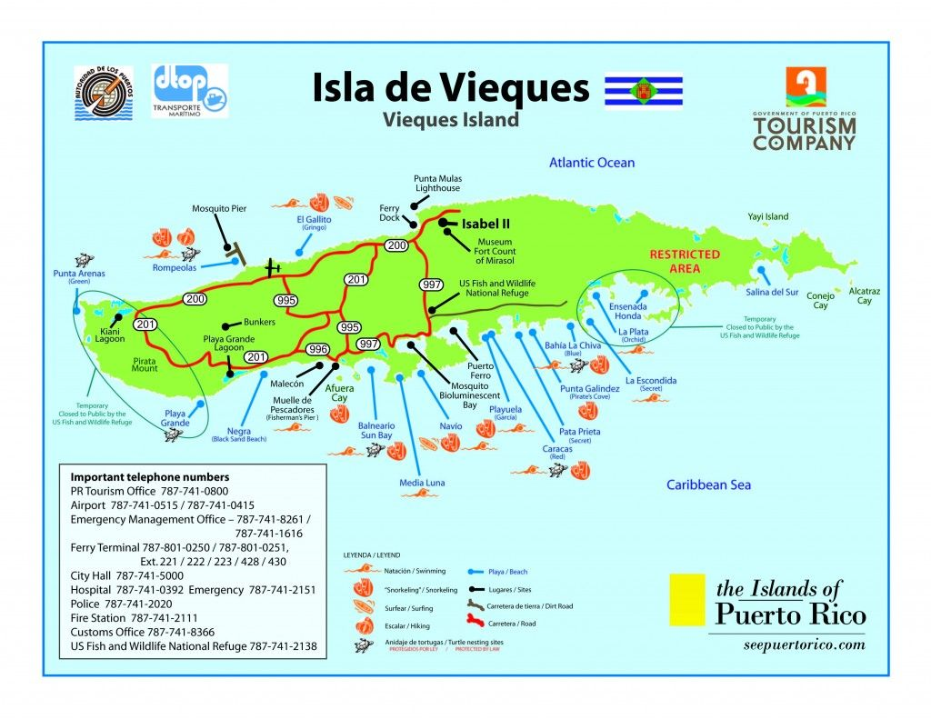 Vieques Vieques Travel Information Getting To Vieques Puerto - Map of puerto rico caribbean islands