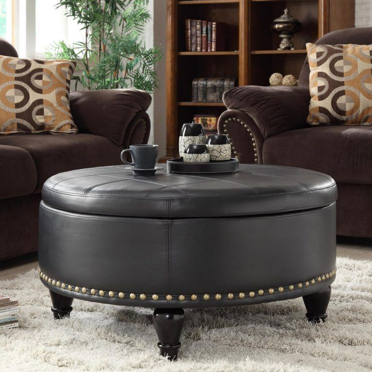 Outstanding Elegant Living Room Round Ottoman Coffee Table