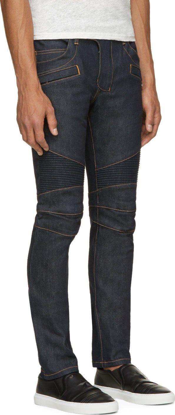 85309dc16 Balmain Blue Raw Denim Contrast Stitch Biker Jeans | Designer ...