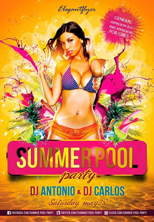 Summer Pool Party  Free Flyer Psd Template  Dj Flyer