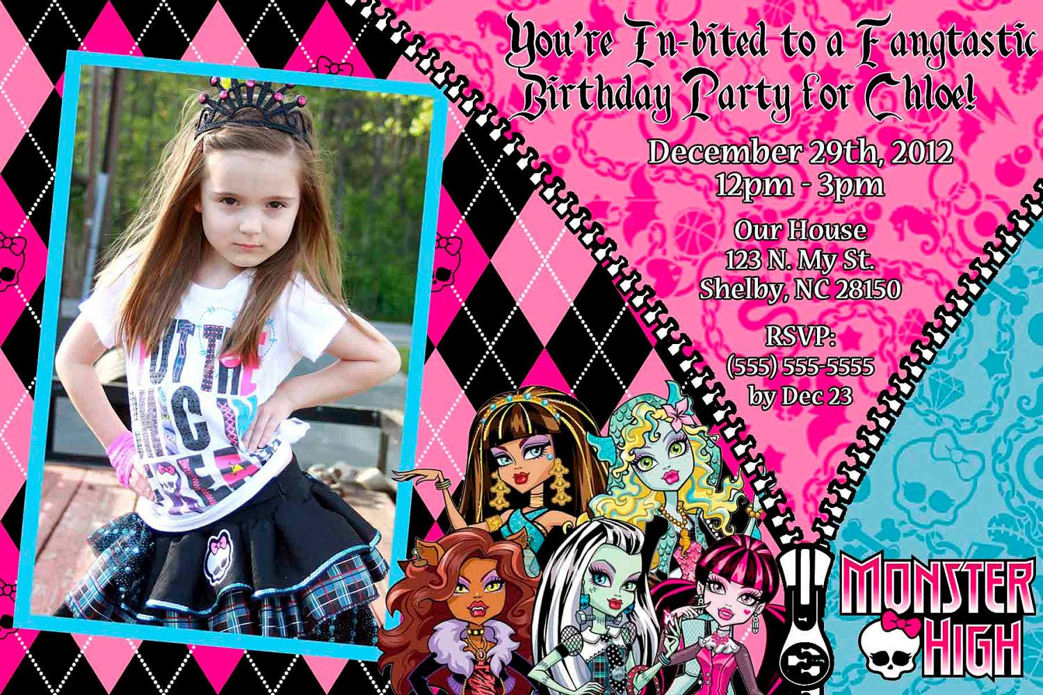 Custom+Monster+High+Invitation+OR+Thank+you+card+by+SkyeCreation,+$ ...