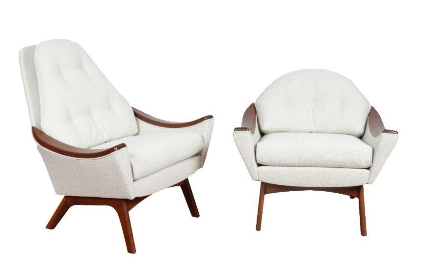 White Mid-Century 'His and Hers' lounge chairs by Adrian Pearsall. Refinished and reupholstered pair of chairs. No damages. Gorgeous pair, and comfortable too!  His: 30'L x 31'W x 36.5'H  Hers: 30.5'L x 29'W x 28'H