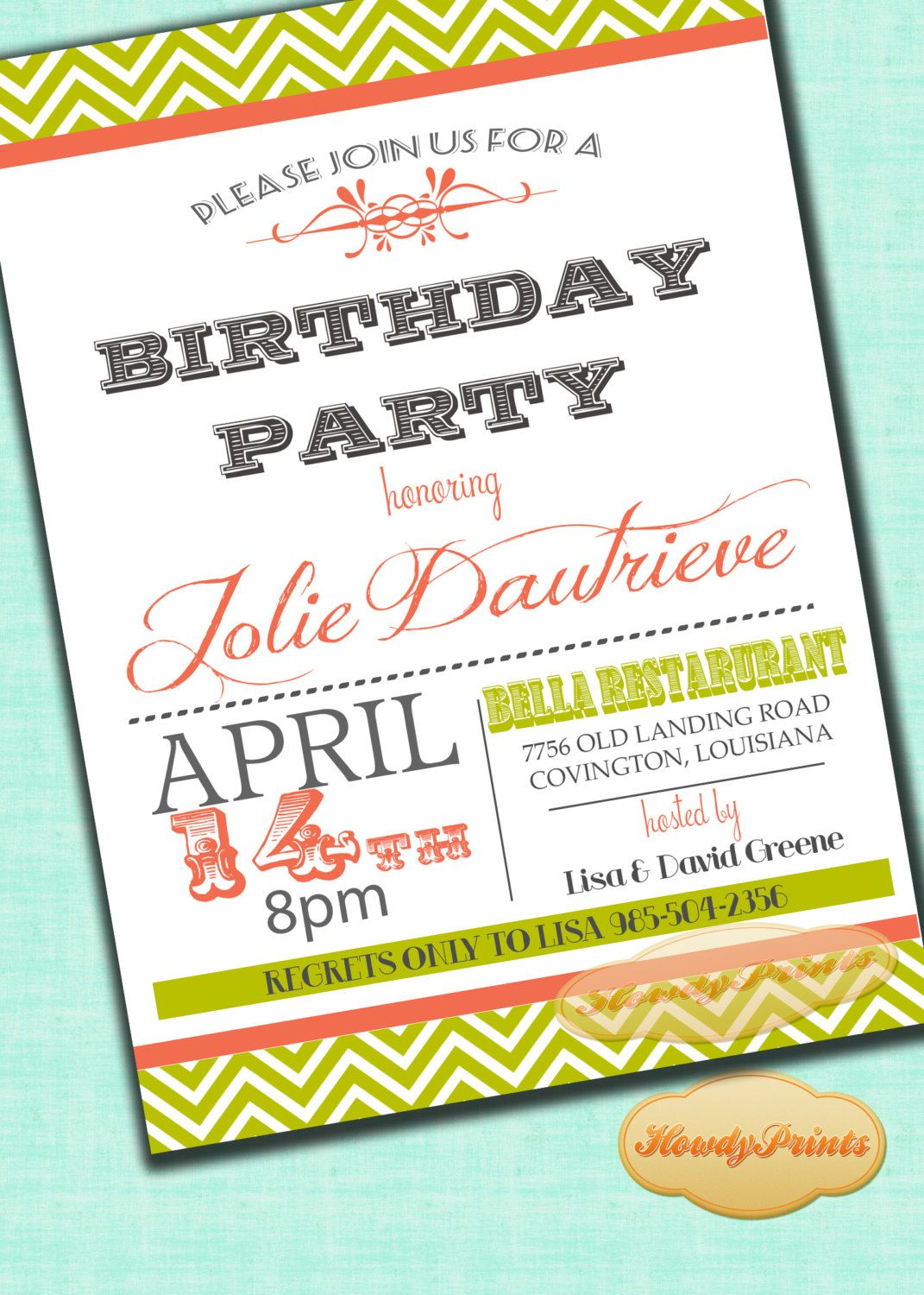 Retro Style Birthday Invitation,you print or we print,Vintage ...