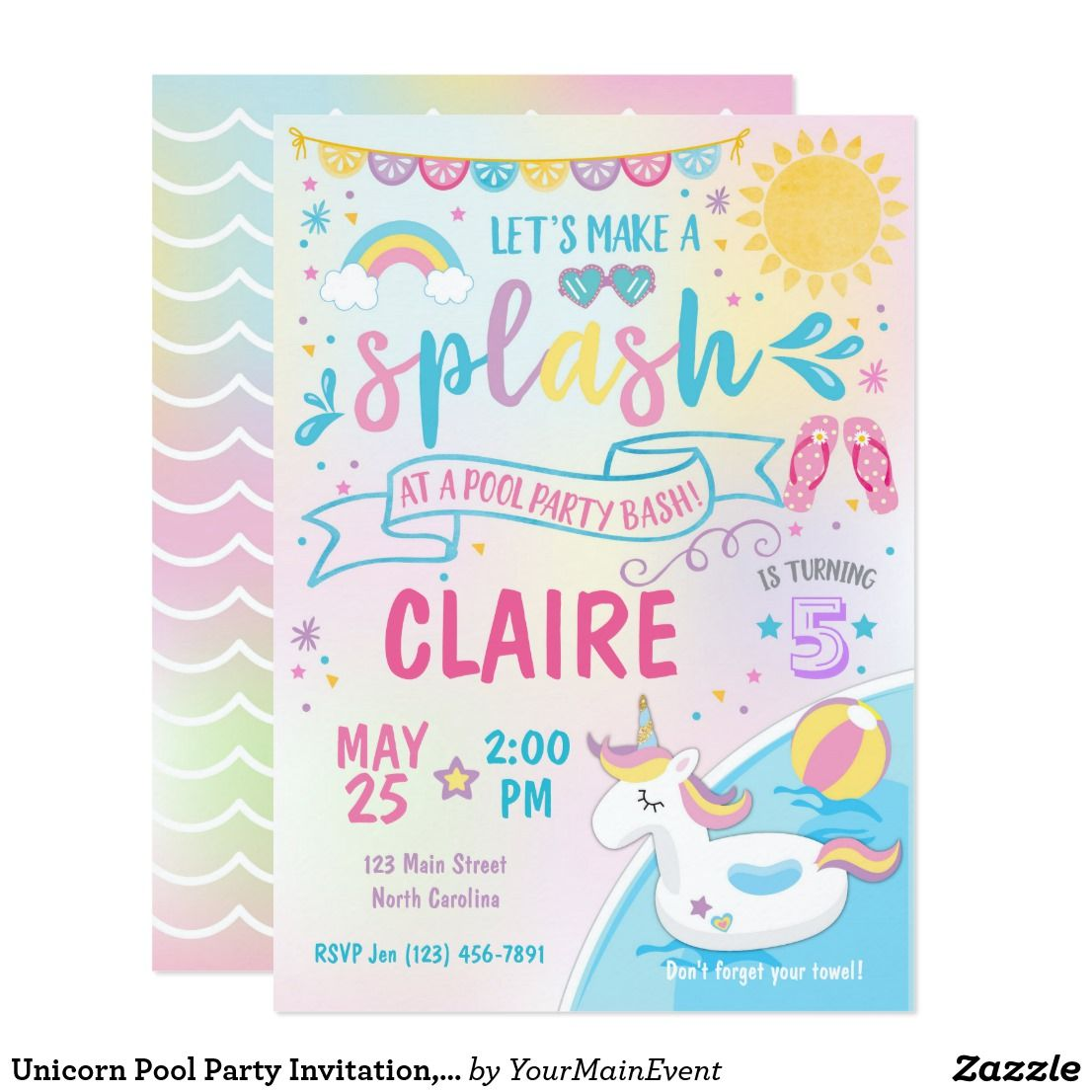 Unicorn Pool Party Invitation Pool Bash Birthday Invitation