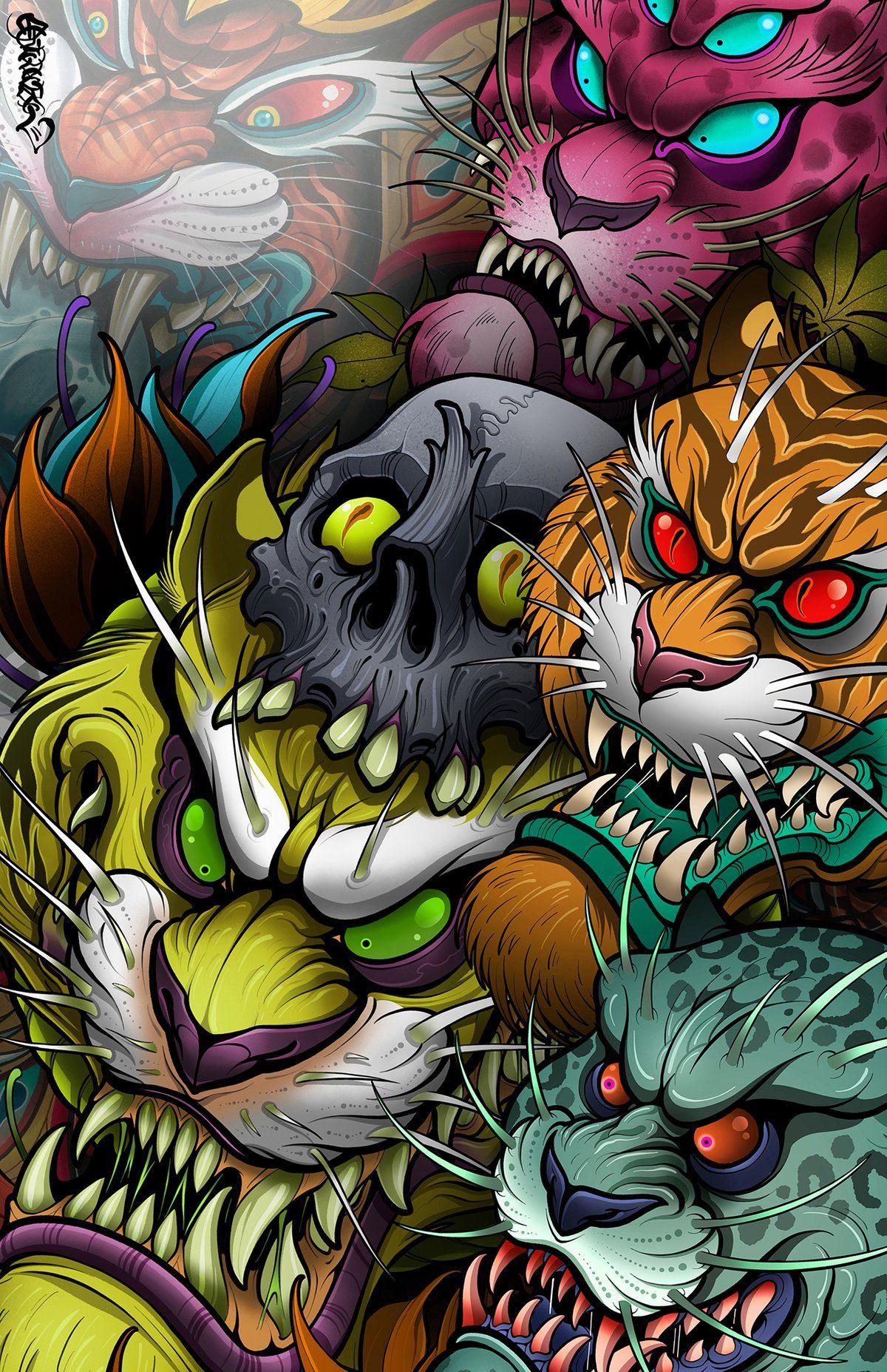 Image Of Cat Pile Japanese Tattoo Art Samurai Art Pop Art Wallpaper
