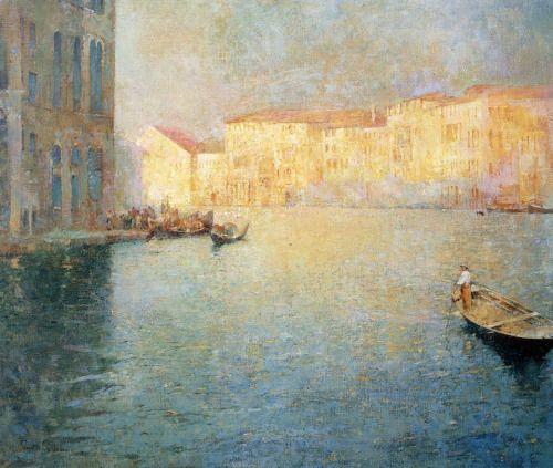 Emil Carlsen - (1853-1932) Mercato a Venezia collezione privata