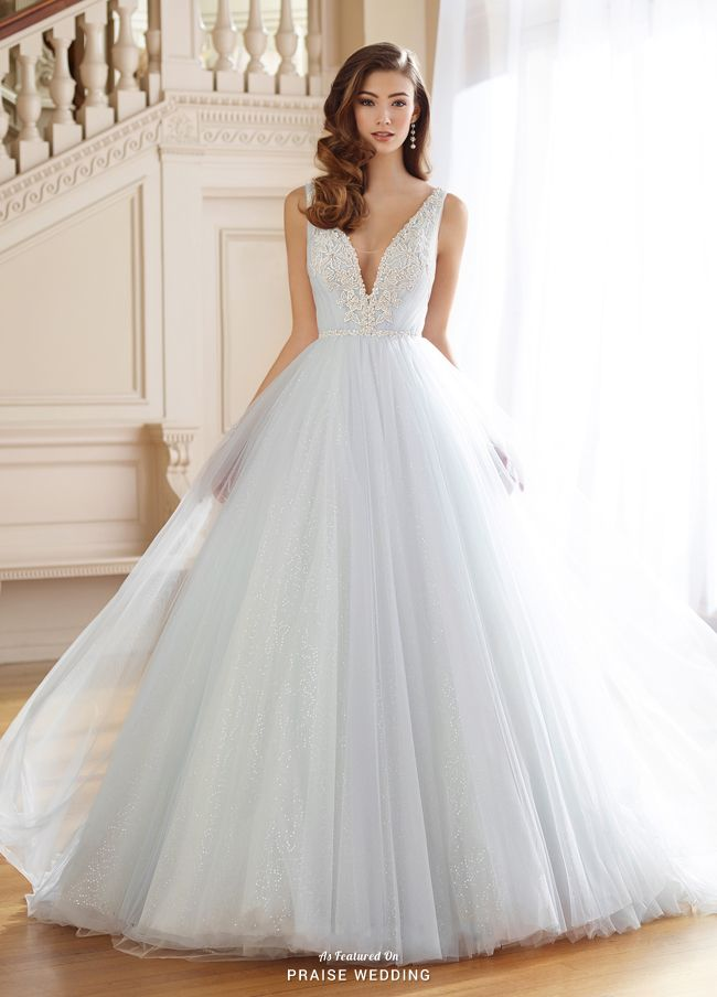 This romantic gown from David Tutera with a touch of shimmering blue ...
