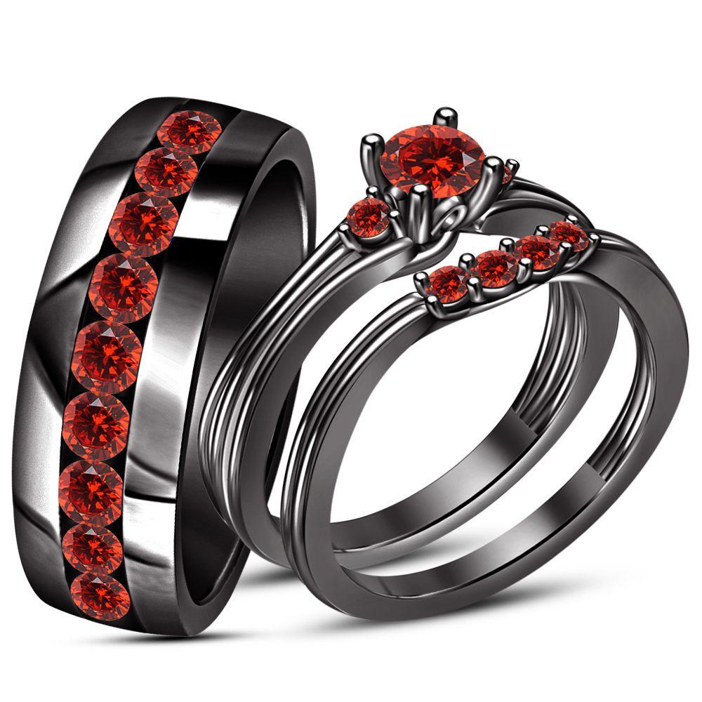 Red Garnet Engagement Ring Wedding Band Trio Set Black Gold Finish 925 Silver