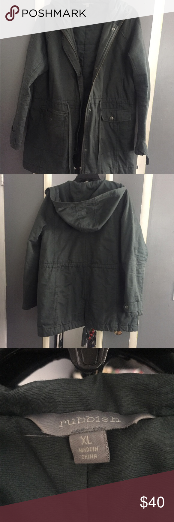 Army green Rubbish jacket Hooded, army green fall jacket Rubbish Jackets & Coats Utility Jackets