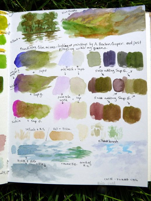 Watercolor practice mixing - pg 2 | journaling paint-charts ...