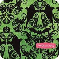 Hocus Pocus Green Halloween Damask Yardage SKU# 1956-01