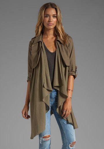 LINE & DOT Flowy Trench Coal in Olive - Line & Dot