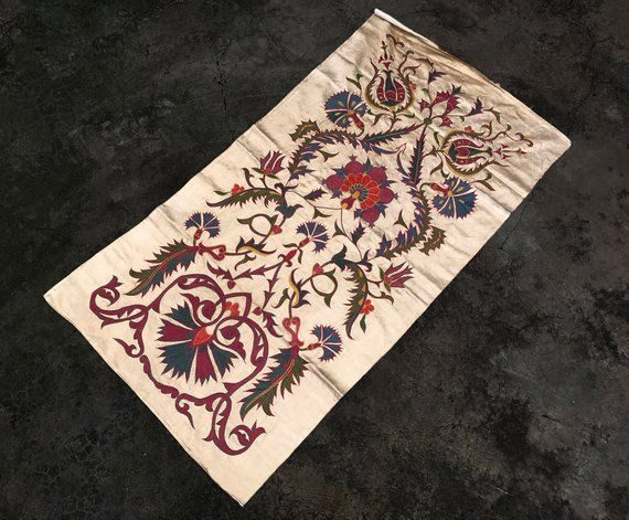 Merveilleux Handmade Suzani Table Runner, Pure Silk Suzani Tablecloth, Floral Patterns  And Perfect Condition, Su