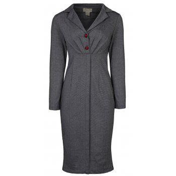 Brigitte Grey Pencil Dress | Vintage Inspired Fashion - Lindy Bop
