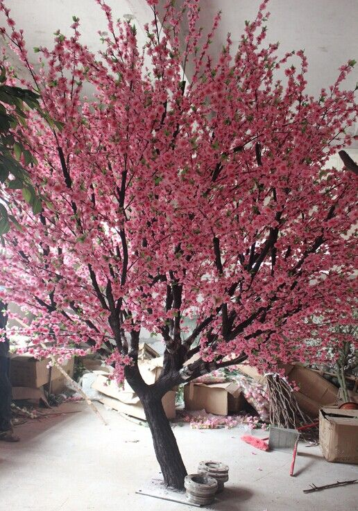 2014 Sj At112 Outdoor Decoration Artificial Cherry Tree Branch Wedding Garden Fake Plas Outdoor Trees Artificial Cherry Blossom Tree Cherry Blossom Bonsai Tree
