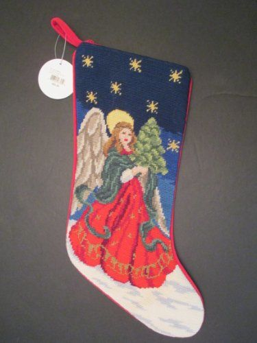 Angel & Tree Christmas Stocking, Wool Needlepoint, Blue & Red, 17 Inch X 11 Inch Holiday Lane Macy's 2013 Holiday Lane http://www.amazon.com/dp/B00HV52JWO/ref=cm_sw_r_pi_dp_AhPiub0HR90X6