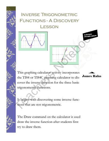 Inverse Trigonometric Functions A Discovery Lesson Trigonometric Functions Lesson Inverse Functions