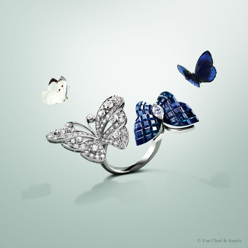 Van Cleef & Arpels unveils a new High Jewelry creation from the Flying Butterfly collection: the Flying Butterfly #BetweentheFingerRing set in white gold with diamonds #MysterySetting #VCAspring