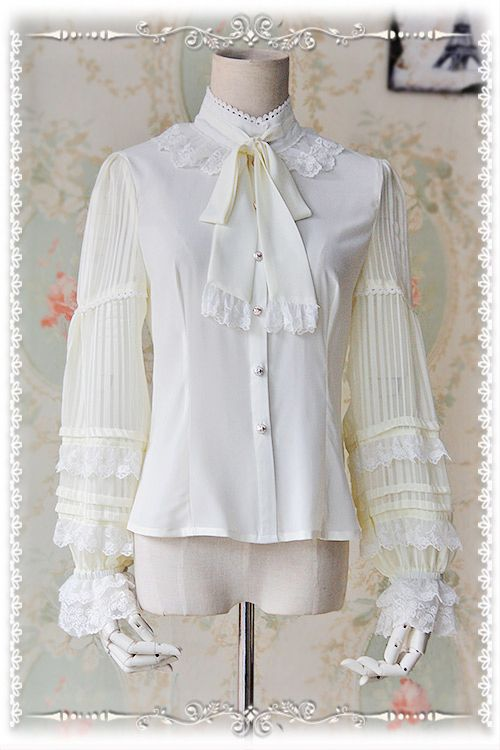 Sheer Striped Long Sleeve Women's White Chiffon Blouse High Collar Shirt with Bowtie by Infanta