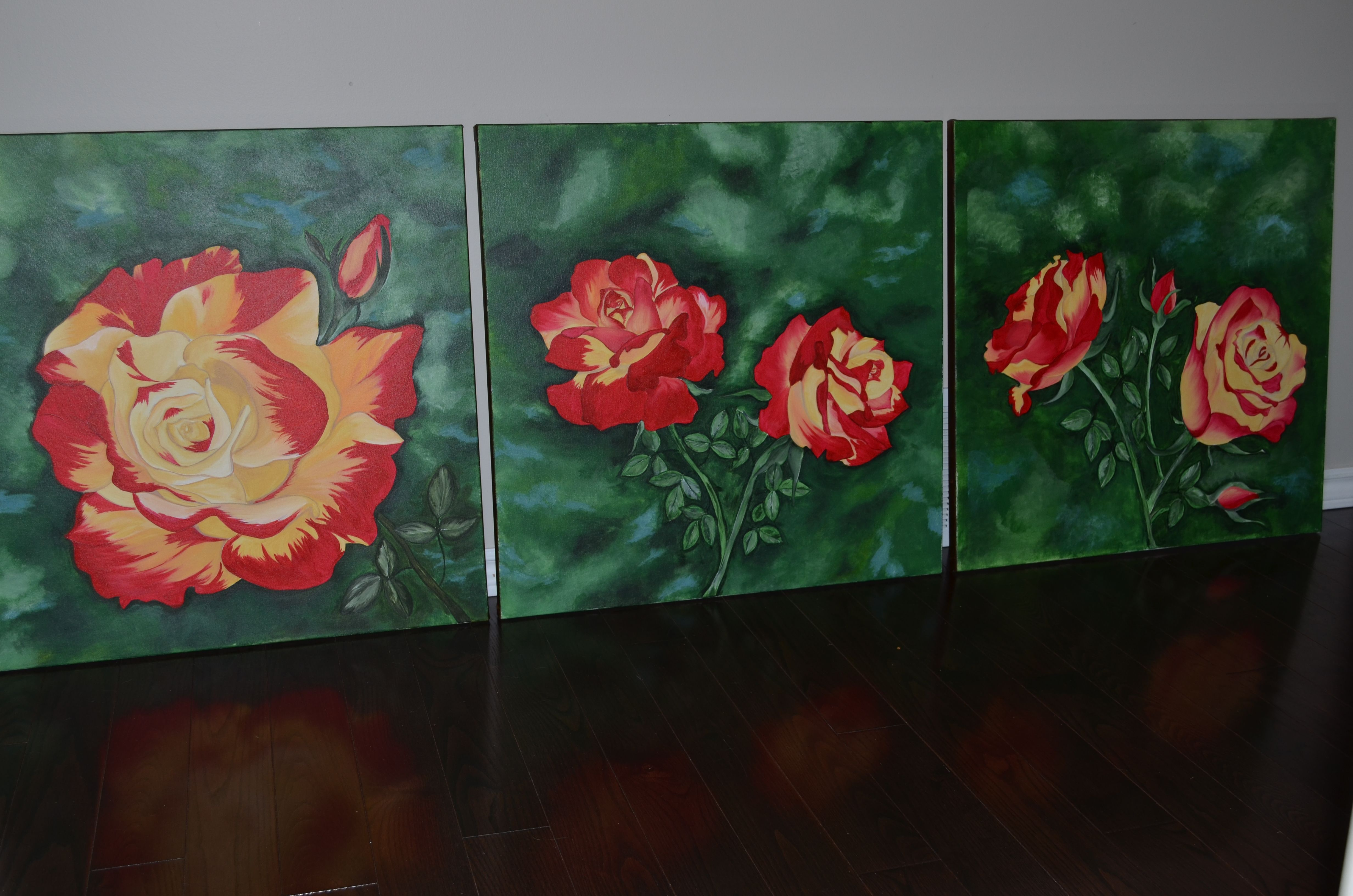 Custom rose triptych. I created this one so my client could split them up, arrange them horizontal or vertically.