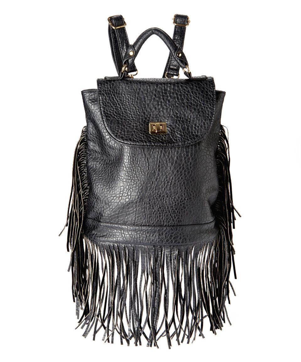 Love this Black Fringe Backpack by Constance Gold on #zulily! #zulilyfinds