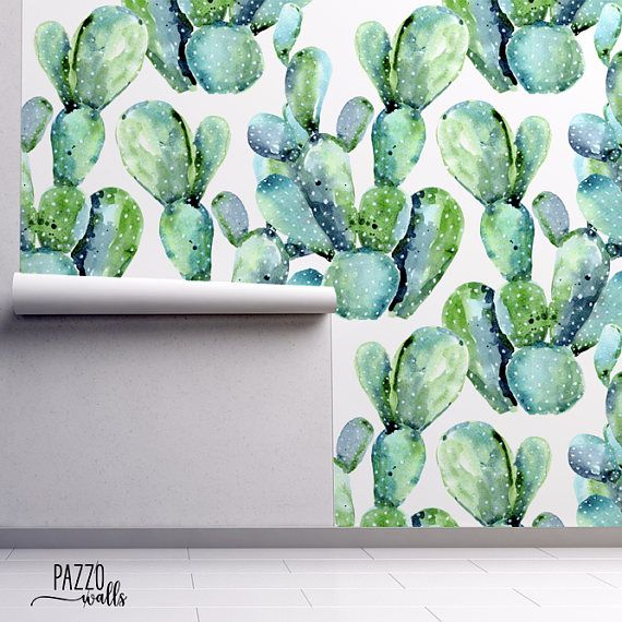 Watercolor Cactus Wallpaper Free Shipping Removable Or Regular