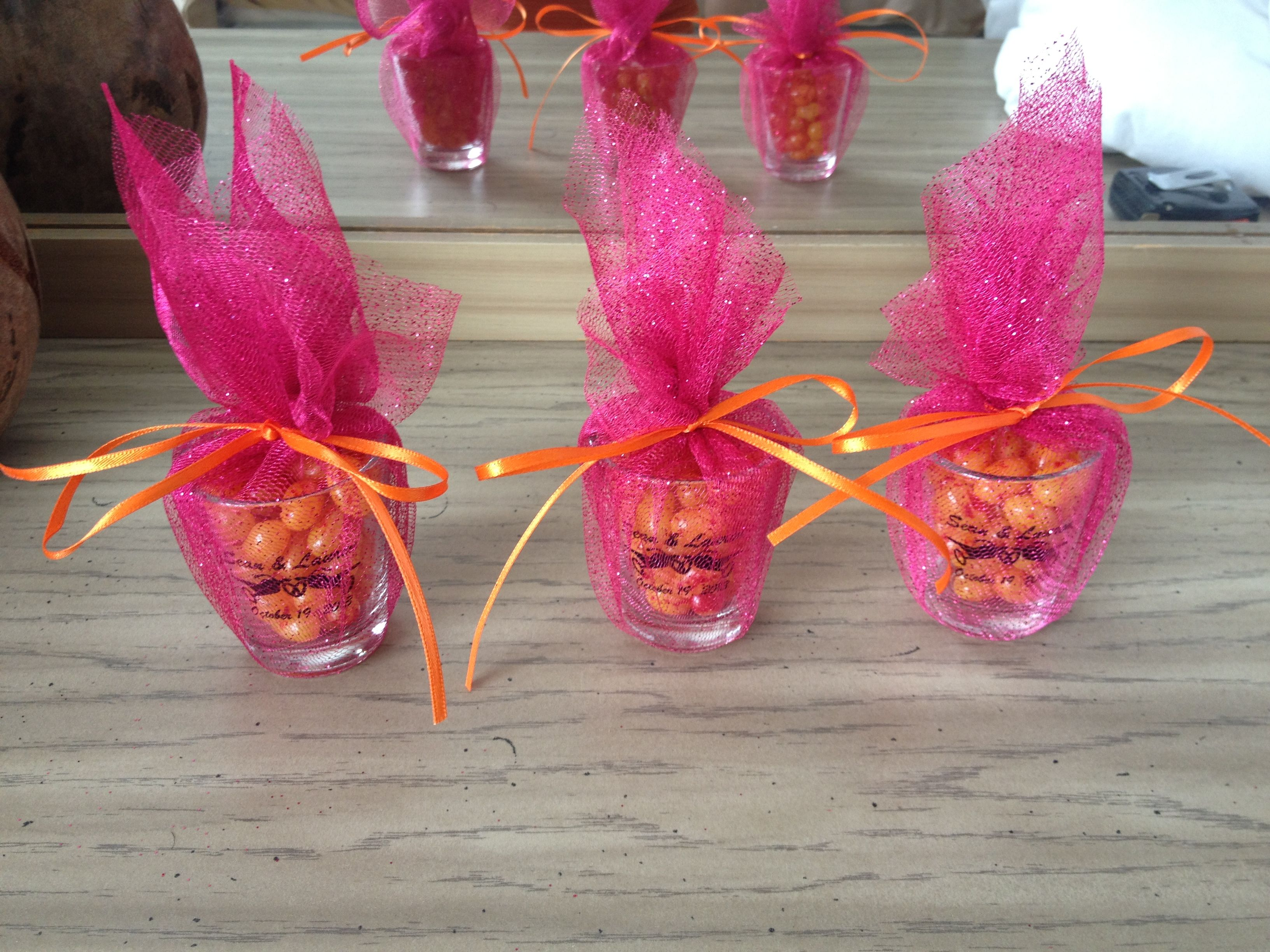 Wedding favors: custom shot glasses with peach jelly bellies wrapped ...