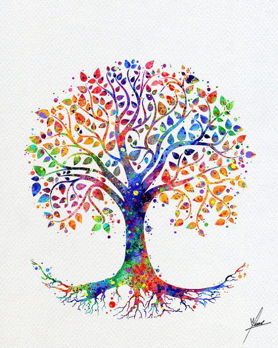 Tree Of Life Watercolor Print Wedding Gift Fine Art Print Wall