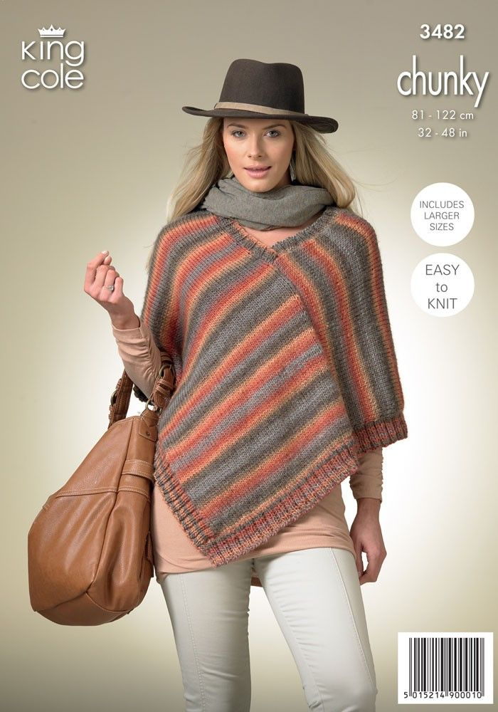 Square Poncho and Pointed Poncho in King Cole Riot Chunky - 3482 ...