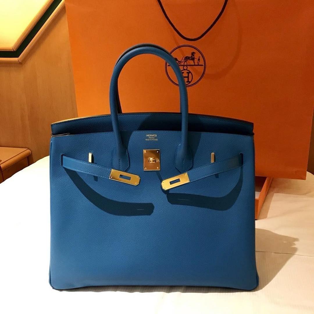 cb449c56c427 Hermes Birkin 35 Blue Agate Epsom Ghw A
