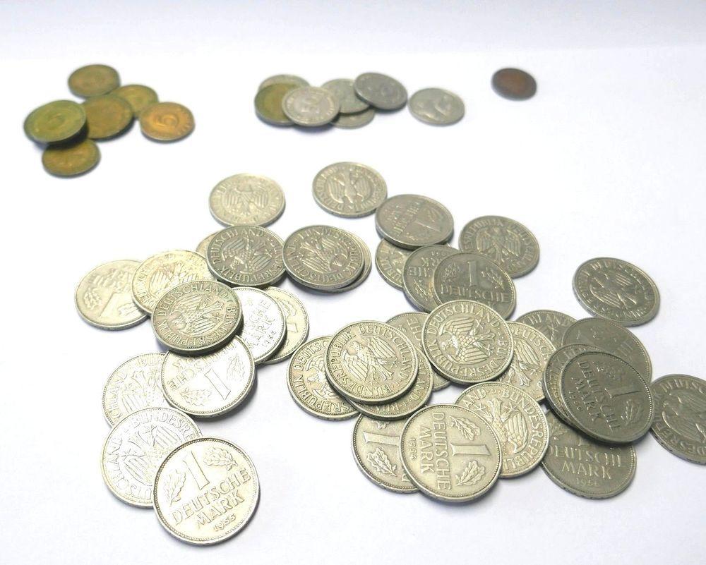 1 Dm 5 10 50 Pfennig Münz Konvolut Deutsche Mark Münzen Set Lots