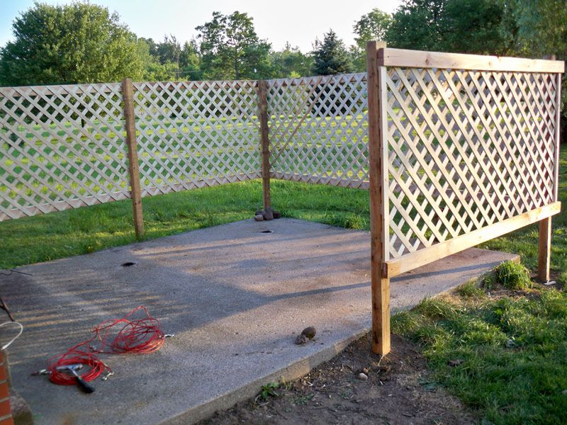 DIY Patio Lattice Fence add climbing Morning Glorys for