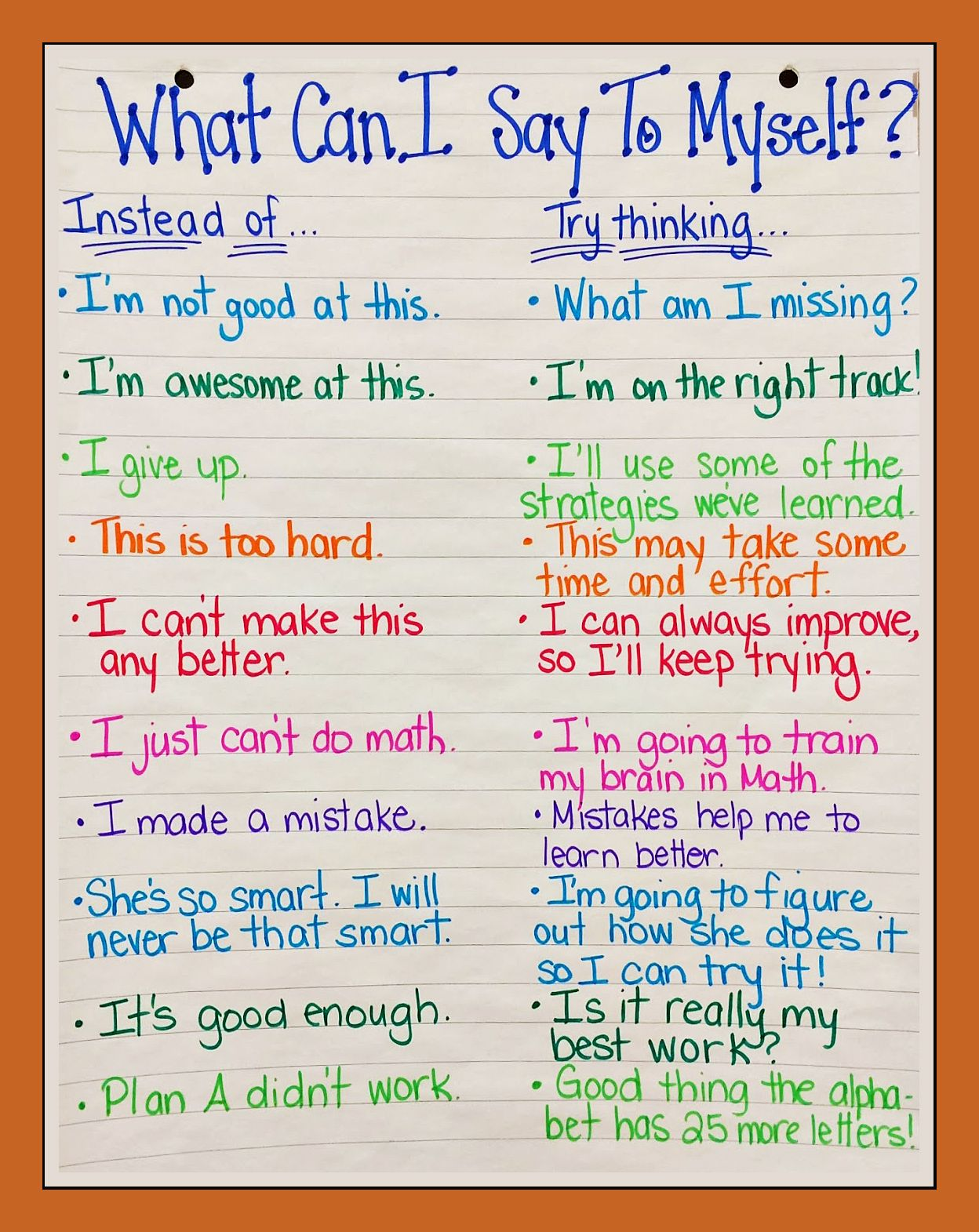 Worksheets Positive Self Talk Worksheet poster showing positive self talk to go with the book stand tall molly