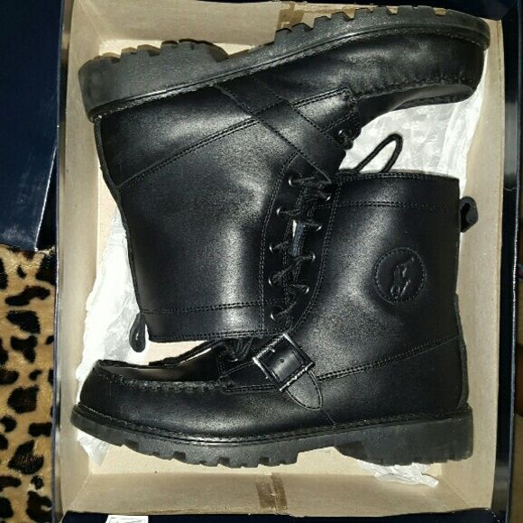 Polo Ralph Lauren Boots These are great boots. Impulsive buy.  Know of my woRE them one time.  They are a boys size 6 but fits a woman size 8. No trades or holds please ask all questions before purchasing I ship every day except Saturday and Sunday thanks Polo by Ralph Lauren Shoes Combat & Moto Boots