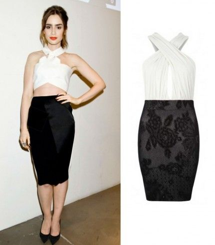 Lily collins black and white dress