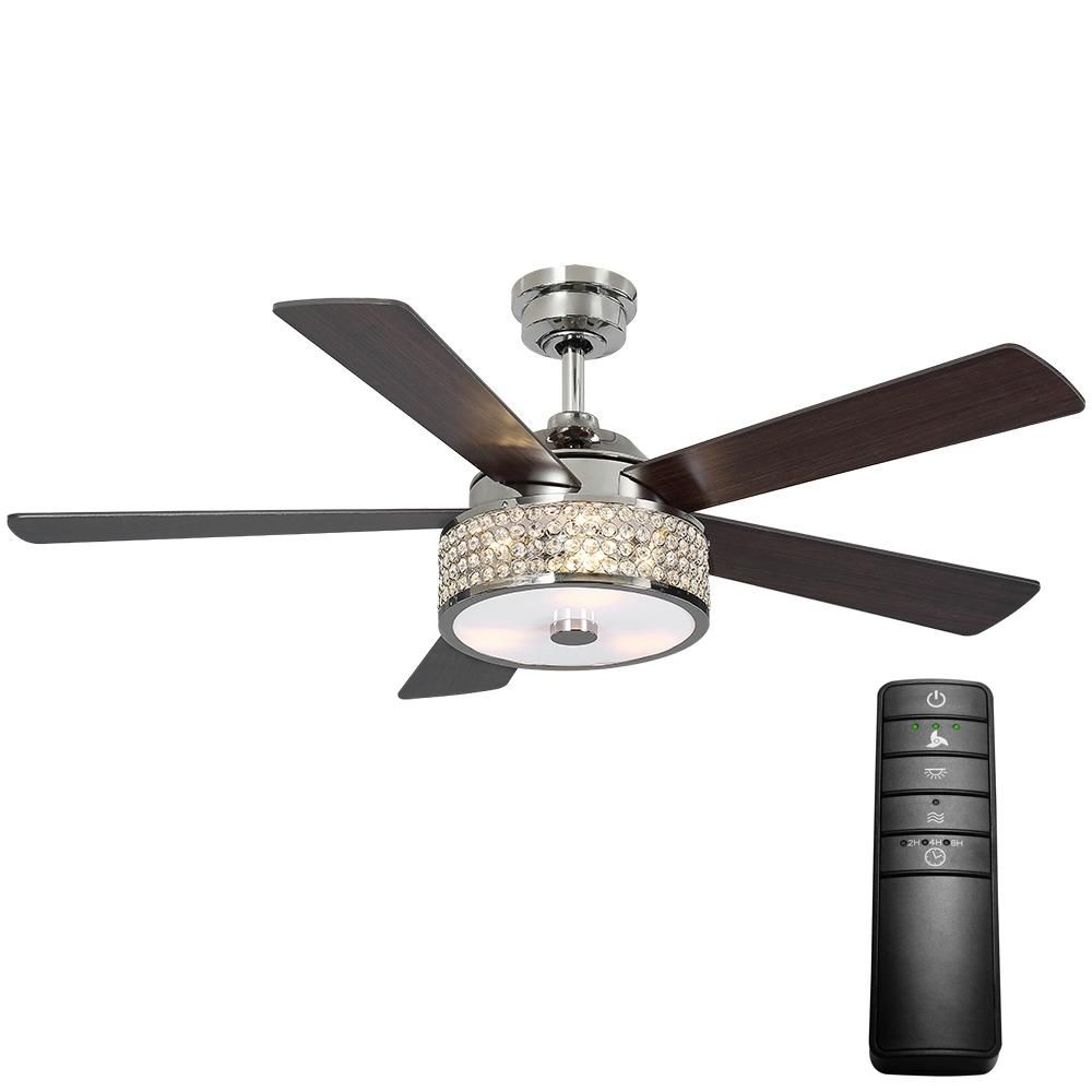 Home Decorators Collection Montclaire 52 In Led Polished Nickel Ceiling Fan With Light Kit And Remote Control 51859 Ceiling Fan With Light Fan Light Ceiling Fan